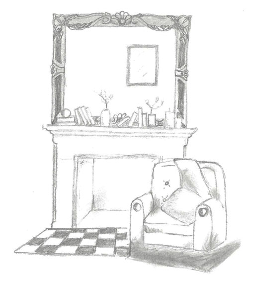 Stone Fireplace Sketch