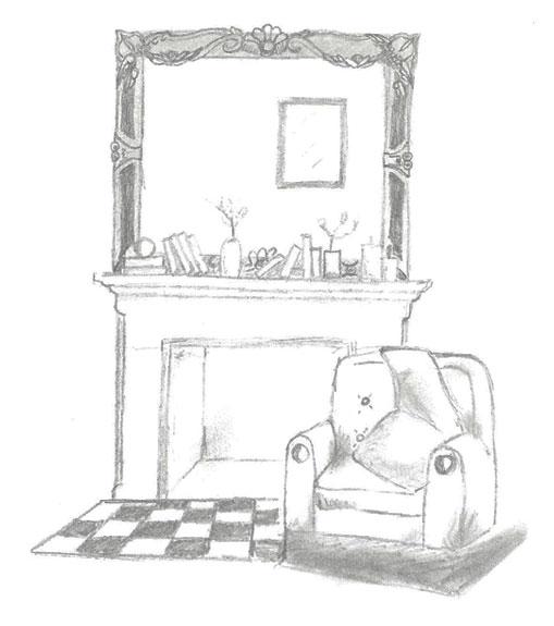Stone Fireplace Sketch